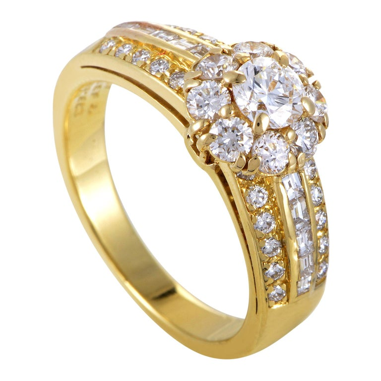 Van Cleef & Arpels Diamond 18 Karat Yellow Gold Flower Ring For Sale