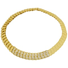 Van Cleef & Arpels Diamond 18 Karat Yellow Gold Heart Motif Choker Necklace
