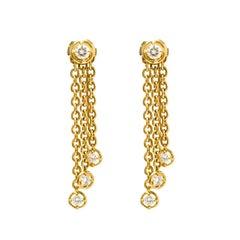 Van Cleef & Arpels Diamond & 18k Yellow Gold Long Tassel Earrings