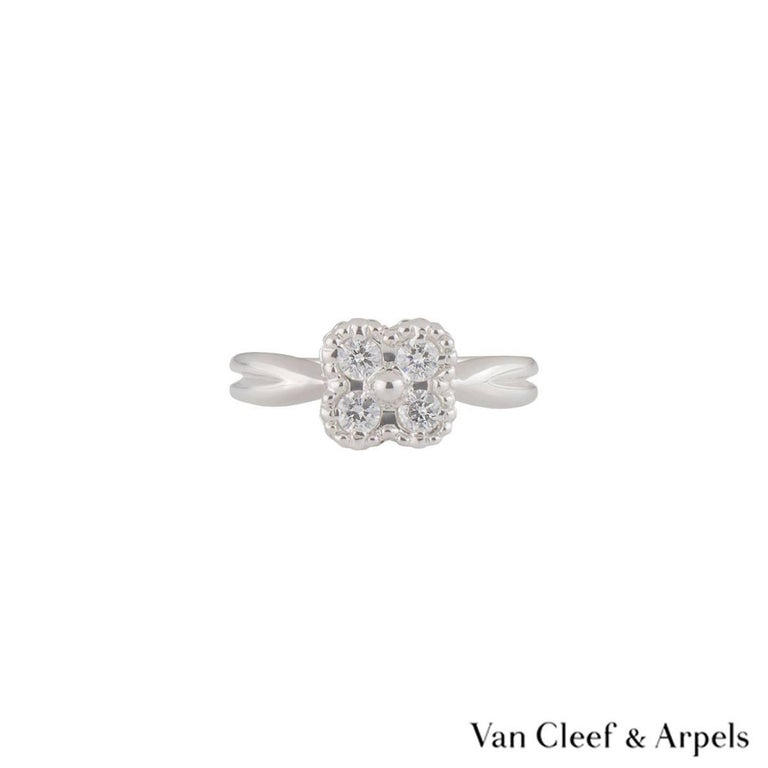 Van Cleef & Arpels Diamond Alhambra Ring In Excellent Condition For Sale In London, GB
