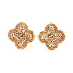 Van Cleef & Arpels Diamond Alhambra Vintage 18k Yellow Gold Earrings
