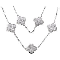 Van Cleef & Arpels Diamond Alhambra White Gold Necklace