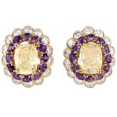 Van Cleef & Arpels Diamond Amethyst and Yellow Sapphire Earrings