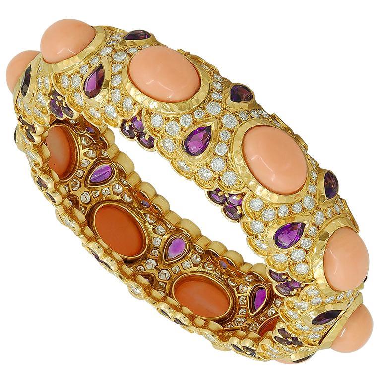 Van Cleef & Arpels Diamond Amethyst Coral Bangle
