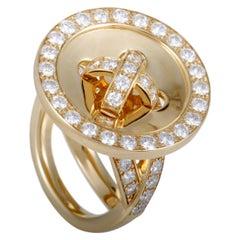Van Cleef & Arpels Diamond and 18 Karat Yellow Gold Button Ring