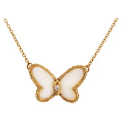 Van Cleef & Arpels Diamond and Coral 18 Karat Yellow Gold Butterfly Necklace