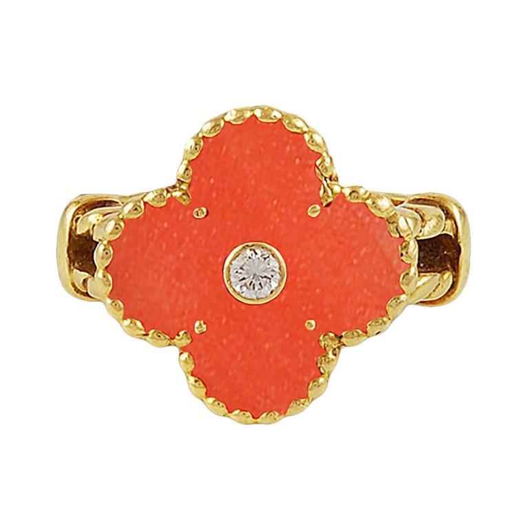 Van Cleef & Arpels Diamond and Coral Alhambra Ring