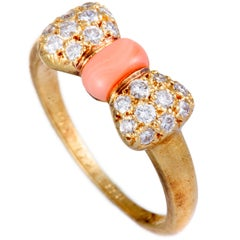 Van Cleef & Arpels Diamond and Coral Yellow Gold Bow Ring