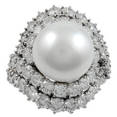 Van Cleef & Arpels Diamond and Cultured Pearl Ring