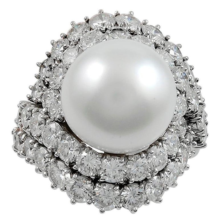 Van Cleef & Arpels Diamond and Cultured Pearl Ring For Sale