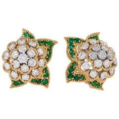 Van Cleef & Arpels Diamond and Emerald Cluster Earrings