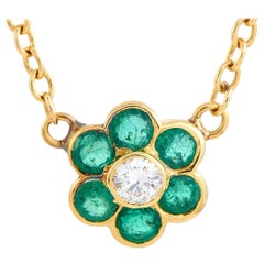 Van Cleef & Arpels Diamond and Emerald Yellow Gold Pendant Necklace