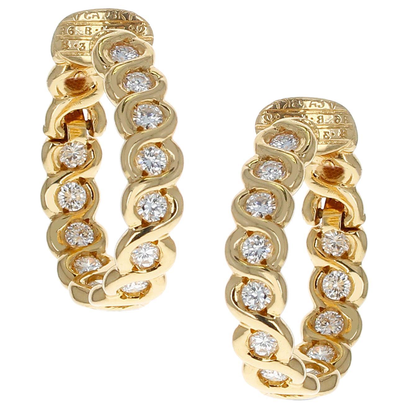 Van Cleef & Arpels Diamond and Gold Hoop Earrings