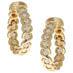 Van Cleef & Arpels Diamond and Gold Hoop Earrings