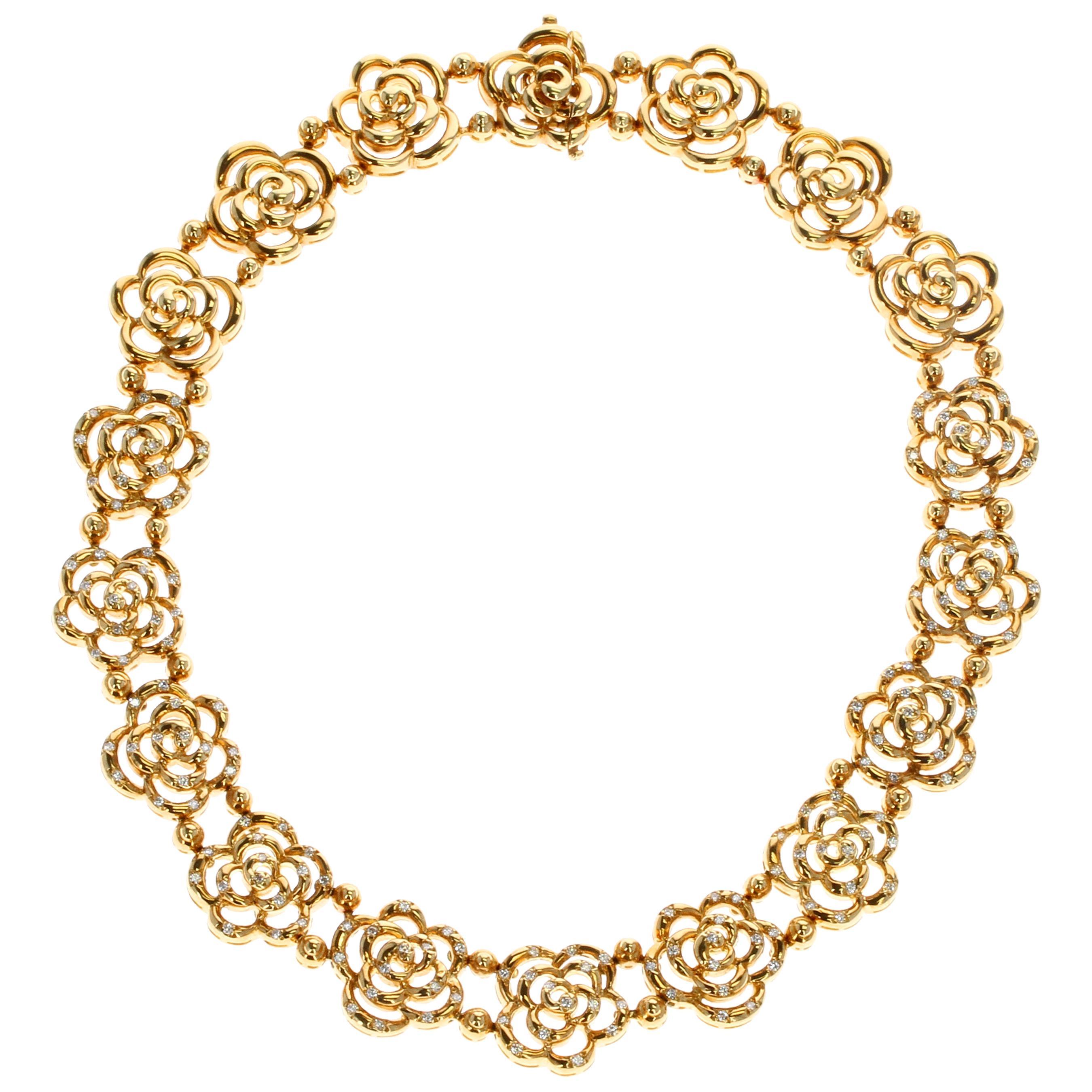 Van Cleef & Arpels Diamond and Gold Openwork Necklace
