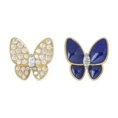 Van Cleef & Arpels Diamond and Lapis Lazuli Butterfly Fauna Earrings