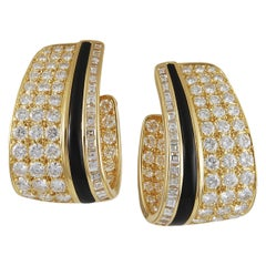 Van Cleef & Arpels Diamond Onyx Hoop Earrings