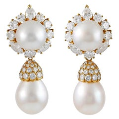 Van Cleef & Arpels Diamond Pearl Yellow Gold Ear Pendants