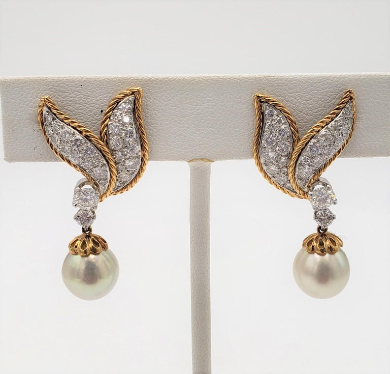 Women's Van Cleef & Arpels Diamond and Pearl Earclips For Sale