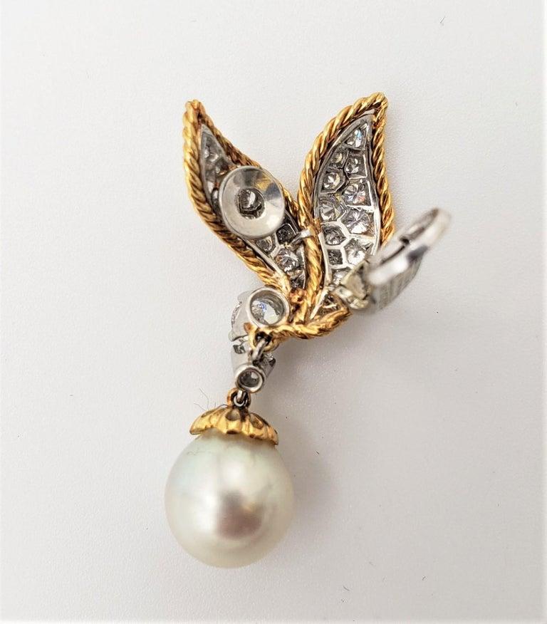 Van Cleef & Arpels Diamond and Pearl Earclips For Sale 2