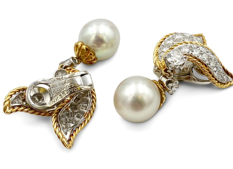 Round Cut Van Cleef & Arpels Diamond and Pearl Earclips For Sale