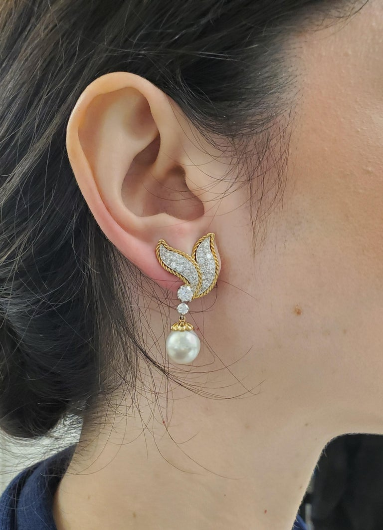 Van Cleef & Arpels Diamond and Pearl Earclips For Sale 4