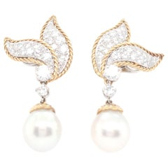Van Cleef & Arpels Diamond and Pearl Earclips
