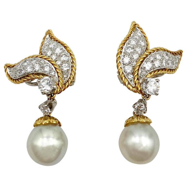 Van Cleef & Arpels Diamond and Pearl Earclips For Sale