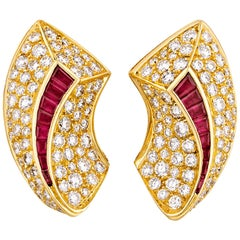 Van Cleef & Arpels Diamond and Ruby Earrings, 6.66 Carat