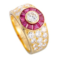 Van Cleef & Arpels Diamond and Ruby Yellow Gold Flower Ring