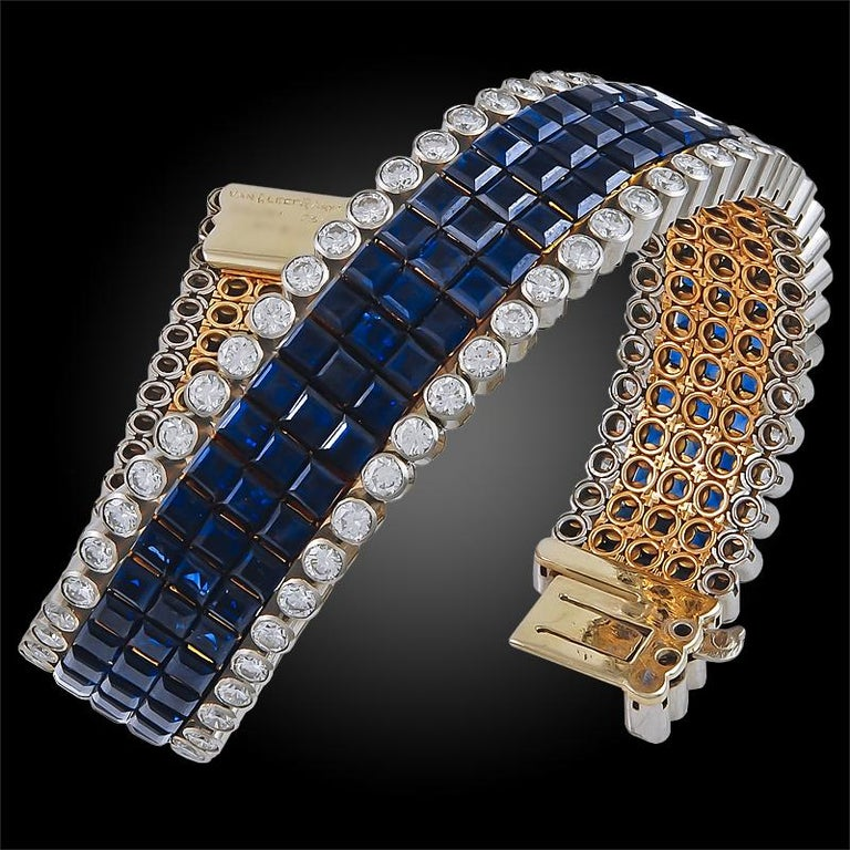 Van Cleef & Arpels Diamond and Sapphire Mystery-Set Bracelet In Good Condition For Sale In New York, NY