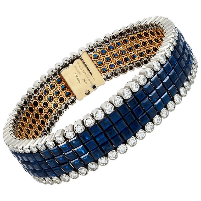 Van Cleef & Arpels Diamond and Sapphire Mystery-Set Bracelet For Sale
