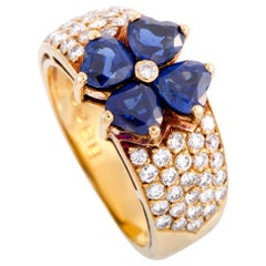 Van Cleef & Arpels Diamond and Sapphire Yellow Gold Flower Ring