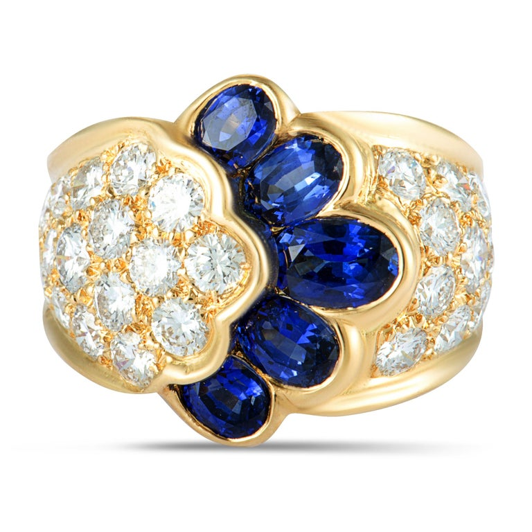 Van Cleef & Arpels Diamond and Sapphire Yellow Gold Wide Band Ring Size 6.25 For Sale 1