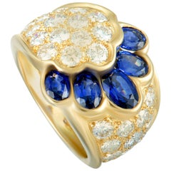 Van Cleef & Arpels Diamond and Sapphire Yellow Gold Wide Band Ring