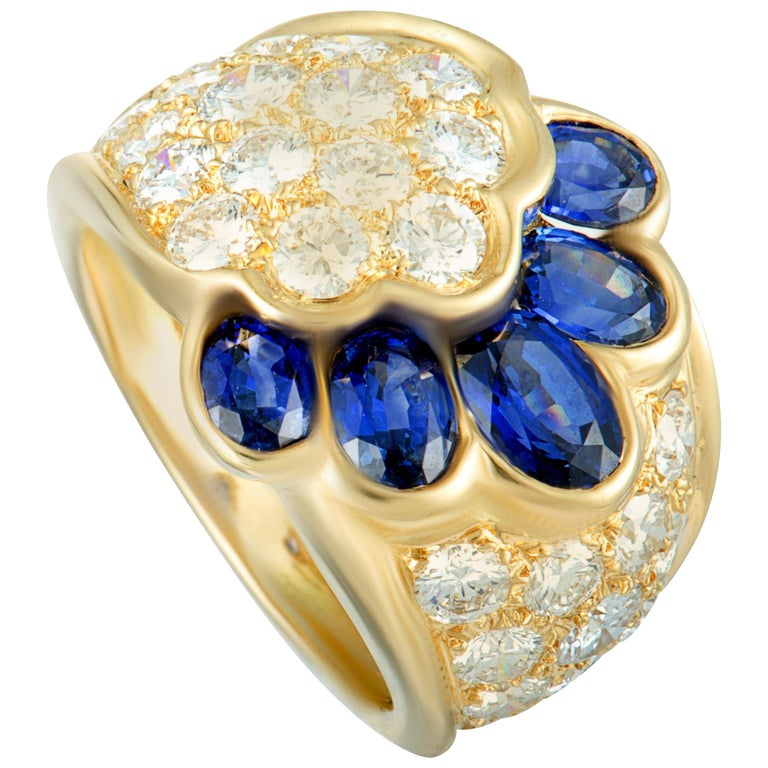 Van Cleef & Arpels Diamond and Sapphire Yellow Gold Wide Band Ring Size 6.25 For Sale