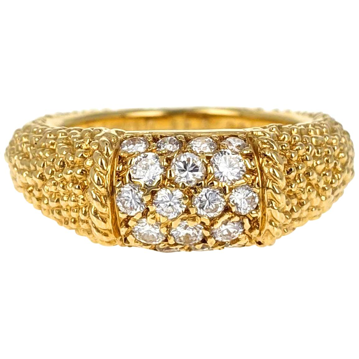 Van Cleef & Arpels Diamond and Textured Gold 'Philippine' Ring