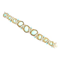 Van Cleef & Arpels Diamond and Turquoise Bracelet