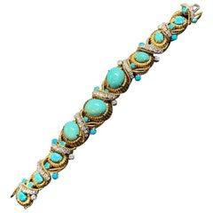 Van Cleef & Arpels Diamond and Turquoise Bracelet