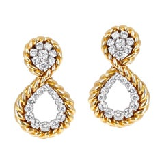 Van Cleef & Arpels Diamond and Twisted Gold Dangling Earrings with Original Box