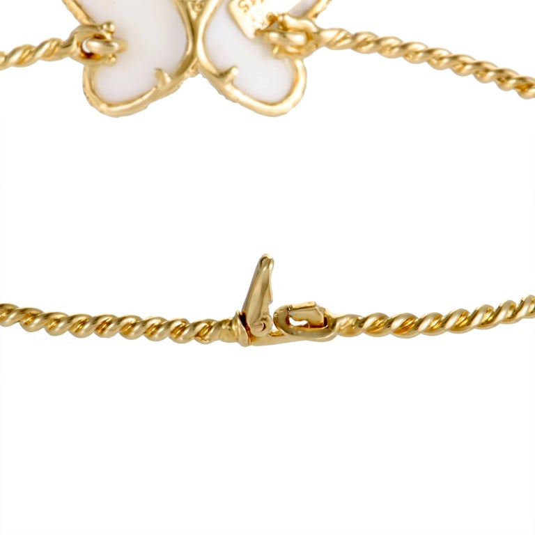 Round Cut Van Cleef & Arpels Diamond and White Coral Yellow Gold Butterfly Bangle Bracelet For Sale