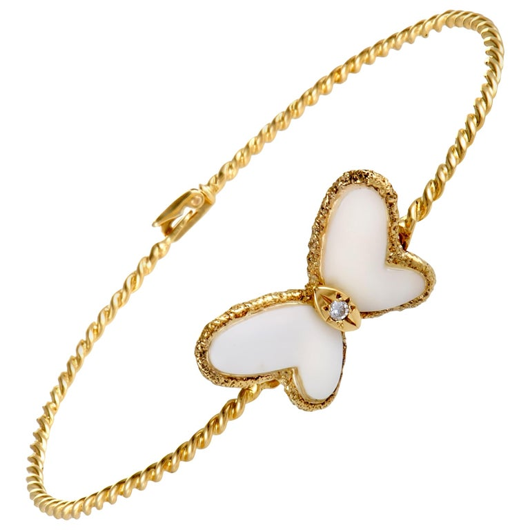 Van Cleef & Arpels Diamond and White Coral Yellow Gold Butterfly Bangle Bracelet For Sale