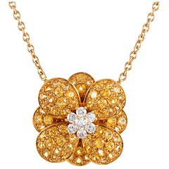 Van Cleef & Arpels Diamond and Yellow Sapphire Flower Pendant