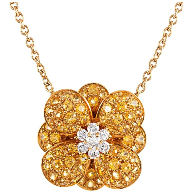 Van Cleef & Arpels Diamond and Yellow Sapphire Flower Pendant For Sale