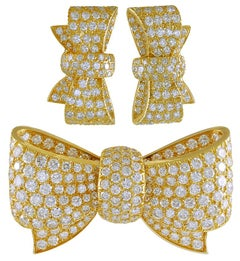 Van Cleef & Arpels Diamond Bow Brooch and Earrings