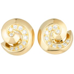 Van Cleef & Arpels Diamond Breeze Swirl Yellow Gold Omega Earrings