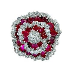 Van Cleef & Arpels Diamond, Burma Ruby Flower Brooch