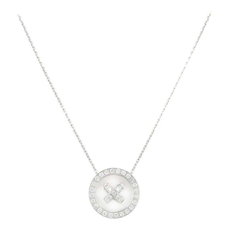 Van Cleef & Arpels Diamond Button Pendant 1.00 Carat For Sale