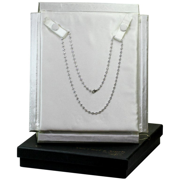 Van Cleef & Arpels Diamond by the Yard White Gold Necklace In Excellent Condition For Sale In New York, NY