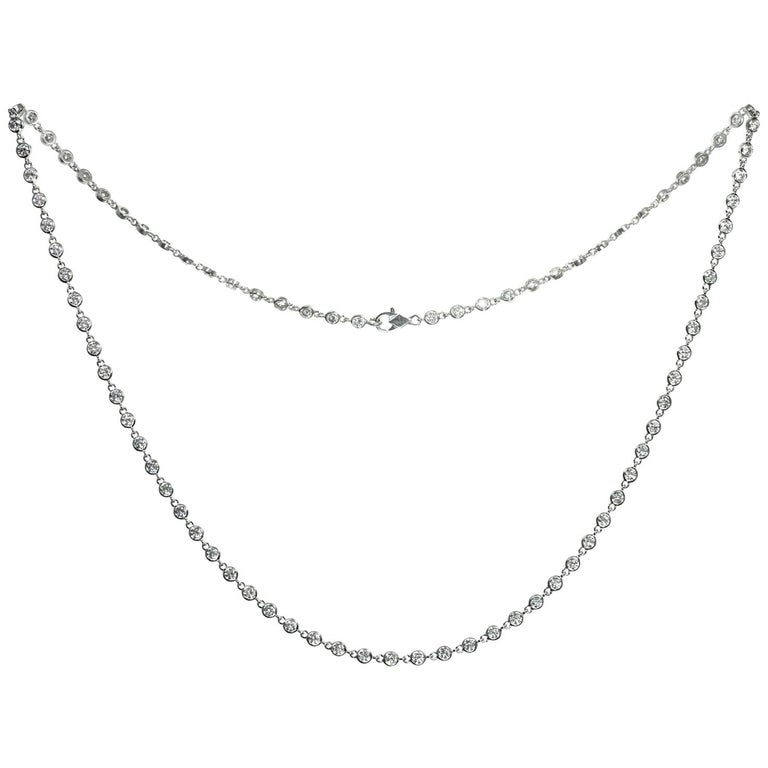 Van Cleef & Arpels Diamond by the Yard White Gold Necklace For Sale